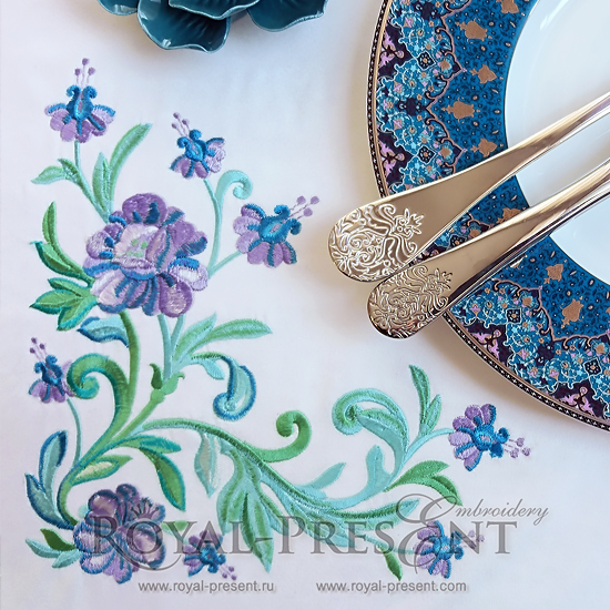Дизайн машинной вышивки Изумрудные цветы