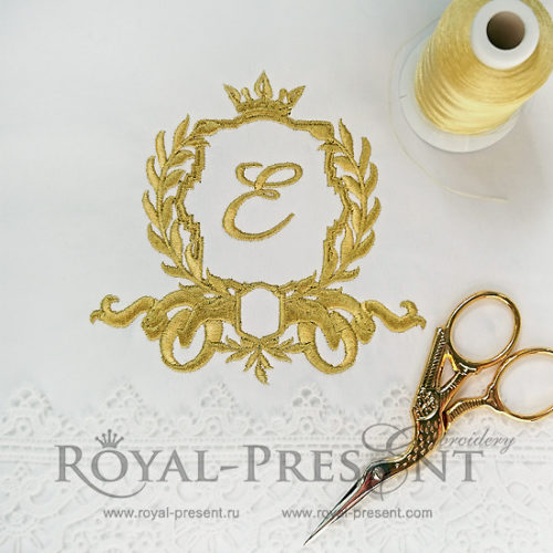 Дизайн машинной вышивки для монограммы с короной
