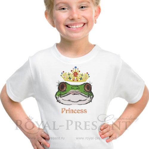 Готовый дизайн машинной вышивки Принцесса лягушка
