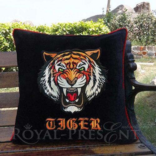 Дизайн машинной вышивки Свирепый Тигр