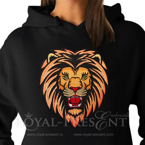 Дизайн машинной вышивки Рычащий Лев