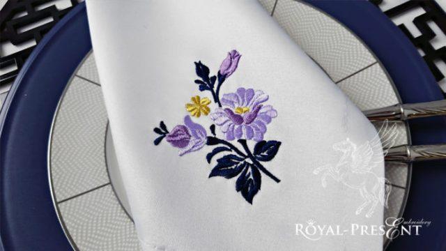 Бесплатный Дизайн машинной вышивки Пурпурные розы