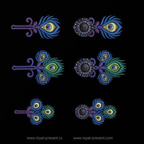 Три дизайна машинной вышивки Петли для пуговиц Павлин