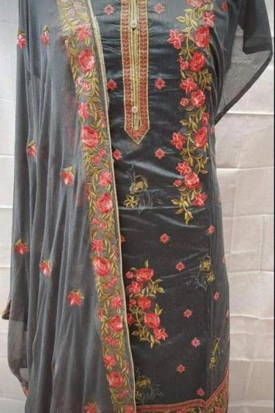 mesmerizing-black-colored-embroidered-chanderi-silk-dress-material