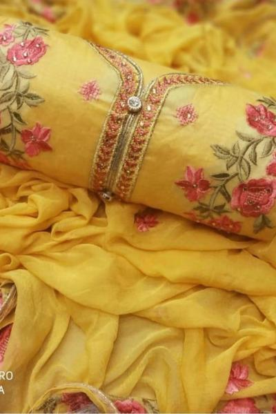 mesmerizing-yellow-colored-embroidered-chanderi-silk-dress-material