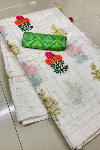 impeccable-greenwhite-soft-kota-fabric-with-fancy-viewings-golden-border-saree