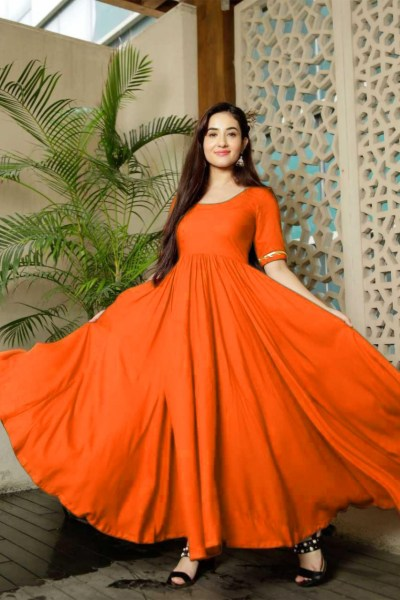 classic-floral-printed-orange-color-american-creep-silk-gown