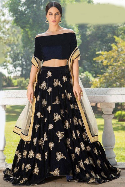 mesmerizing-black-color-original-micro-velvet-fabric-festival-wear-lehenga-choli