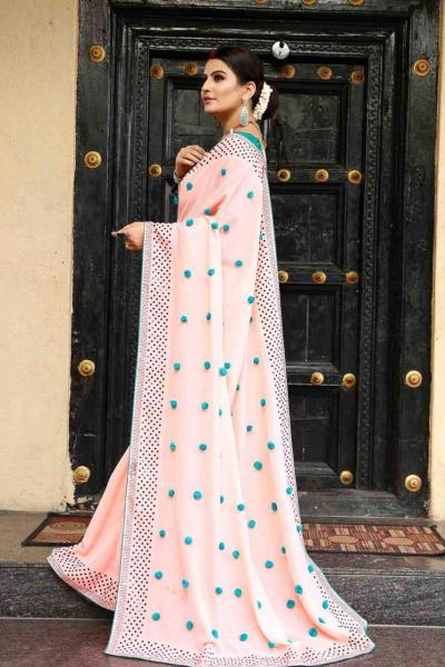 Luminous Peach Color Zoya Silk With Diamond Work Border Classic Saree