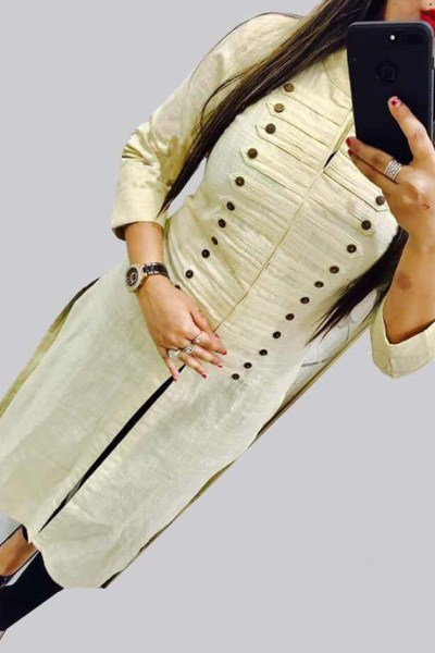 casual-wear-beautiful-cream-color-high-slub-cotton-selfi-kurti