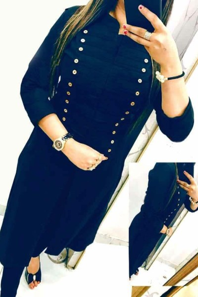 casual-wear-beautiful-navy-blue-color-high-slub-cotton-selfi-kurti