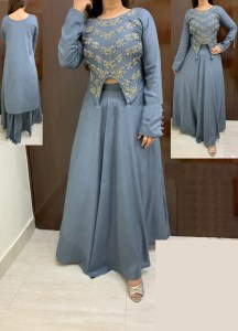 grey-color-high-low-crop-top-hand-work-in-front-with-stylish-skirt