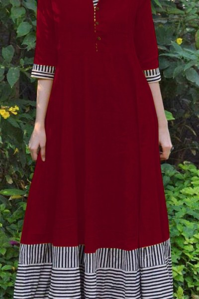 magical-maroon-color-slubby-cotton-casual-wear-long-flair-print-gown