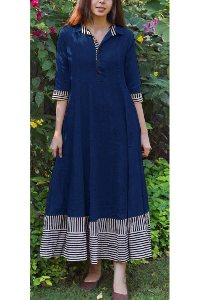 magical-nevy-blue-color-slubby-cotton-casual-wear-long-flair-print-gown