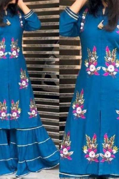 pleasing-blue-color-rayon-with-embroidery-work-kurti-with-plazzo