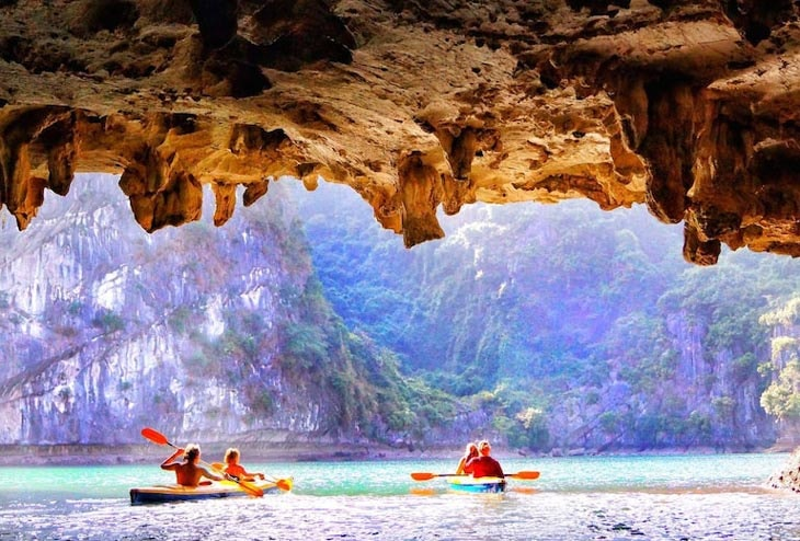 Image of Ha Long Bay a UNESCO World Heritage Site and popular travel destination in Vietnam