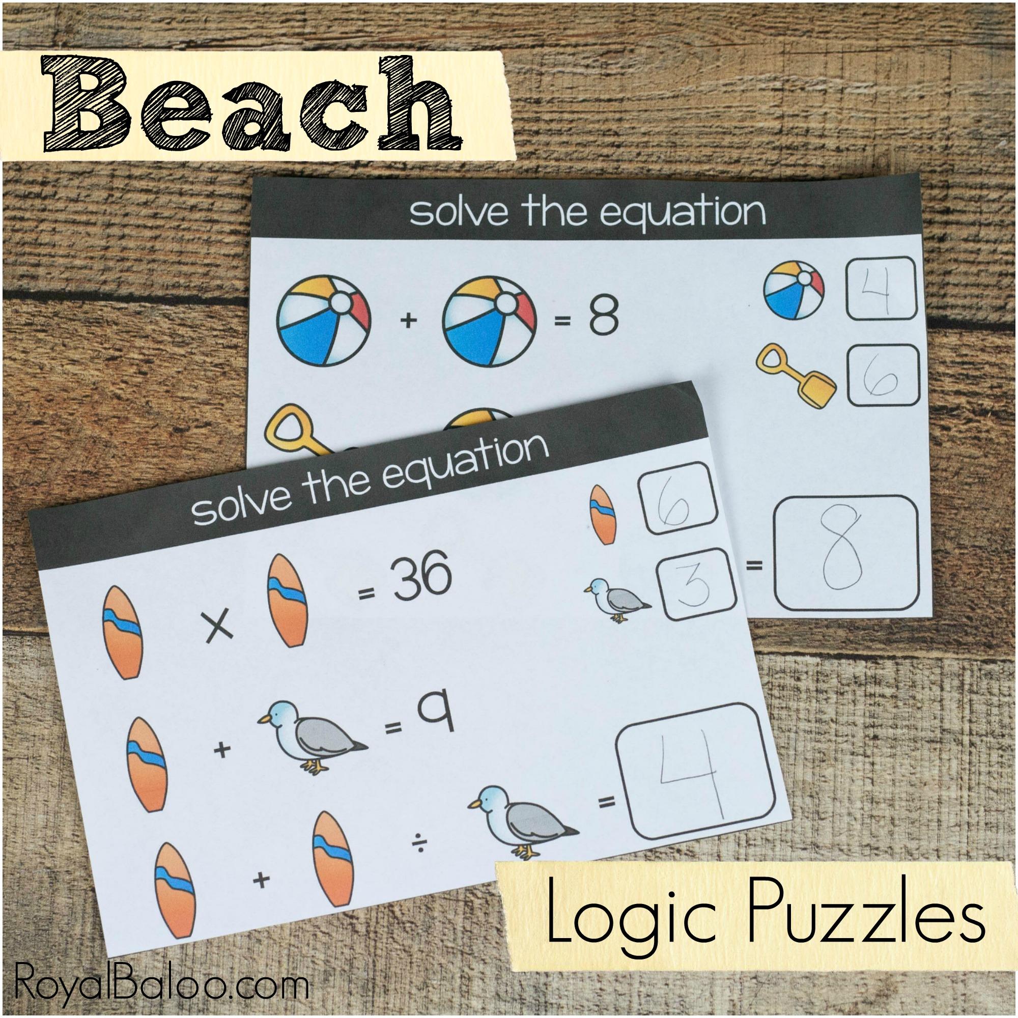 Beach Math Logic Puzzles For Kids