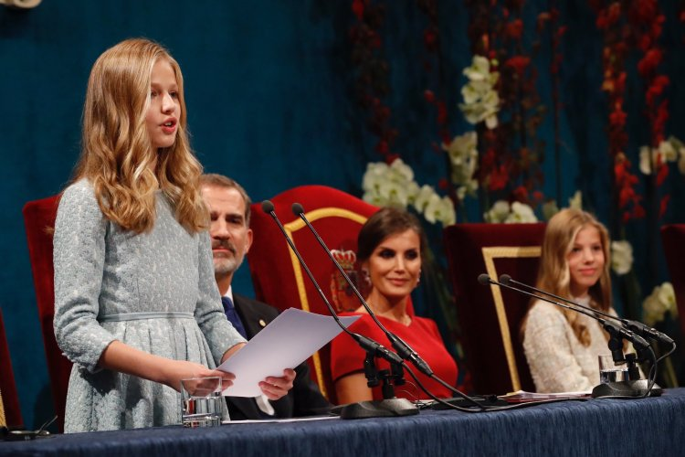 Princess Leonor of Asturias with her parents, King Felipe VI and Queen Letizia, and her sister, Infanta Sofia