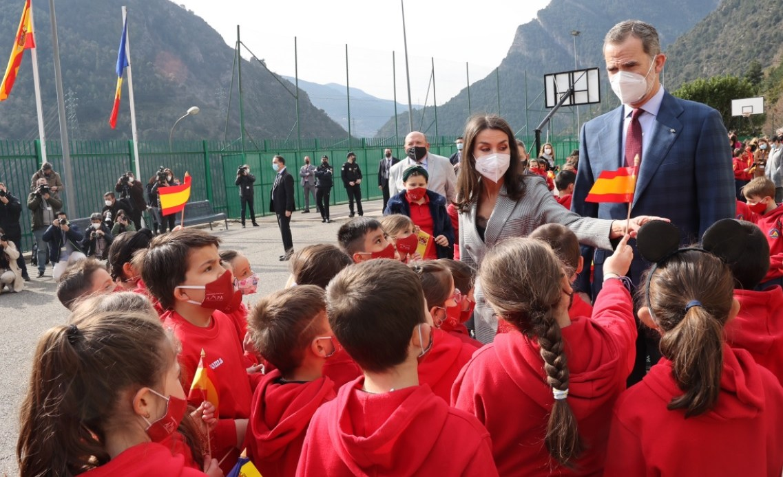 King Felipe and Queen Letizia visit a school in Andorra