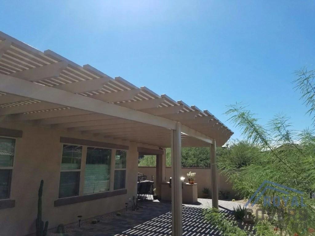 open lattice alumawood patio cover in