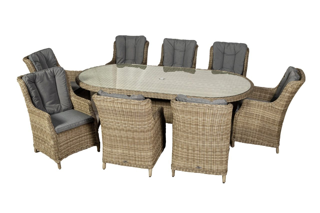 Wentworth 8 Seater Oval Highback Comfort Dining Set