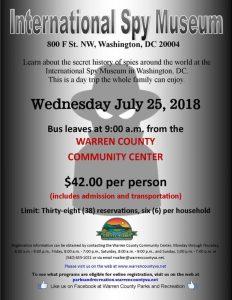 Bus Trip to International Spy Museum @ Warren County Community Center