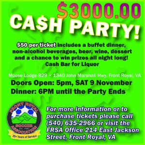 FRSA Cash Party @ Moose Lodge 829