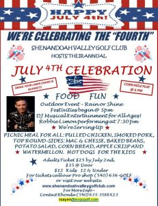 July 4th Celebration @ Shenandoah Valley Golf Club