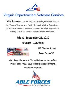 Able Forces Foundation hosting Department of Veteran Services @ Department of Veteran Services