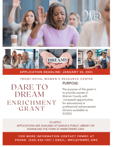 2021 Dare to Dream Enrichment Grant Application @ Front Royal Women's Resource Center