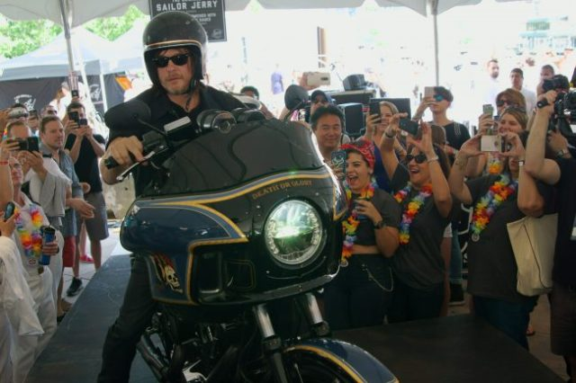 Norman Reedus drove in from Hell's Kitchen to Pier 84 in NYC atop a Harley designed by LA Speed Shop's Chris Richardson.