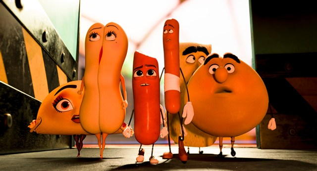 Teresa (Salma Hayek), Brenda (Kristen Wiig), Barry (Michael Cera), Frank (Seth Rogen), Lavash (David Krumholtz) and Sammy (Edward Norton) in Columbia Pictures' SAUSAGE PARTY.