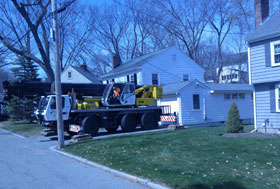 Royal Green Tree Service setting up for tree removal in Melrose