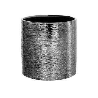 silver etch ceramic cylinder vase for florals 5x5