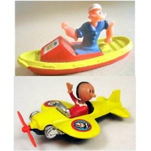 Popeye et Olive en bateau et en avion Corgi Made in Gt Britain.