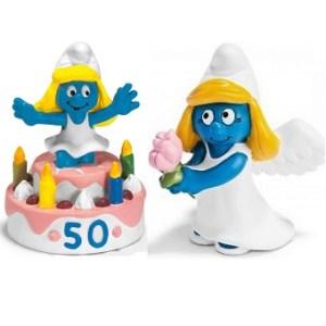 2 Schtroumpfettes Gâteau d'anniversaire 50 ans et Ange Schleich 2007 et 2009 Made in Germany