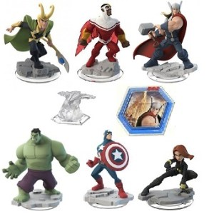 DISNEY INFINITY 2.0 Avengers 6 figurines Marvel + Monde +Power disc.