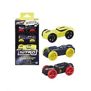 Nerf Nitro Recharges - Pack de 3 voitures en mousse Jaune, Noir et Bleu.