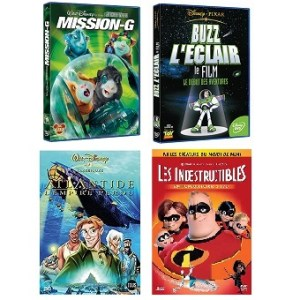 4 DVD Disney Atlantide + Mission-G + Buzz L'Eclair + Les Indestructibles
