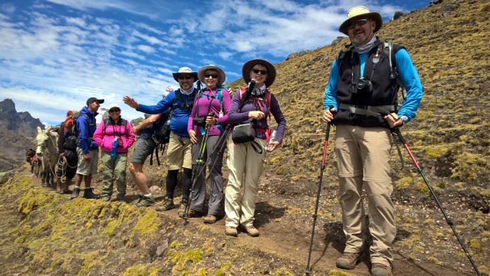 Pictured from left: Yuri, local guide, Evelyn, trek doctor, Rob Gardhouse (partially hidden), Dwayne Hayes, Lorraine Buck Forget, Anna Russell and Paul Kusnierczyk