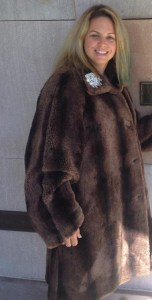 """Carol Rooney of Royal LePage Connect Realty in Ajax, Ontario came up with the winning bid for the """"Royal LePage Faux Fur Coat."""""""