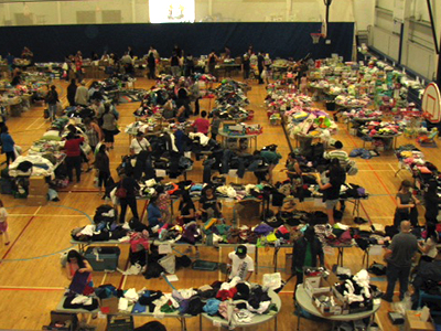 The Bold Centre has become a 24-hour operation for hundreds of volunteers assisting the evacuees.