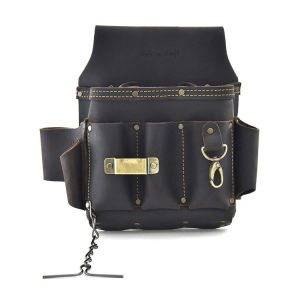 Style n Craft 70-603 10 Pocket Heavy Duty Oiled Top Grain Leather Electrician's or Contractor's Tool Pouch