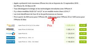 Prix d'iPhone XS