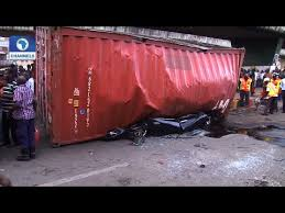 Scores trapped to death as container fell-off in Lagos