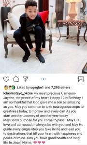 Peter Okoye and Lola Omotayo-Okoye release photos of their son to celebrate him as he turns 12