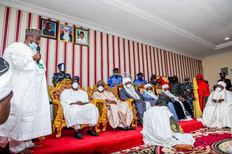 PHOTO NEWS: Kwara Gov., monarchs visit Zazzau over Shehu Idris death