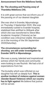 South African actress, Thandeka Mdeliswa shot dead in her home