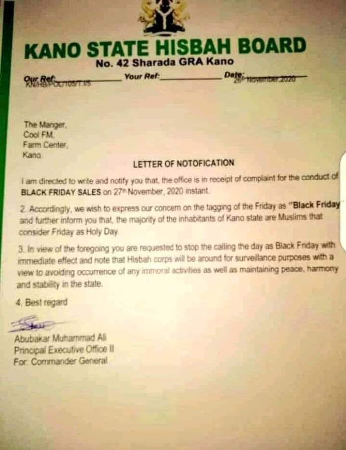 Hisbah forbids radio station from advertising 'Black Friday in Kano