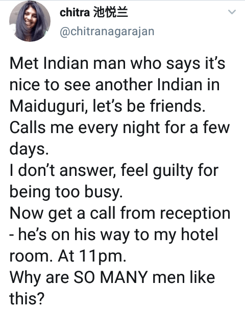 """""""Why are so many men like this?"""" - Maiduguri-based Indian researcher narrates how an Indian man came to her hotel at midnight"""